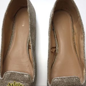 Express Shoes - Express Gold Mesh Glittery Eye Slay Pointy Flats